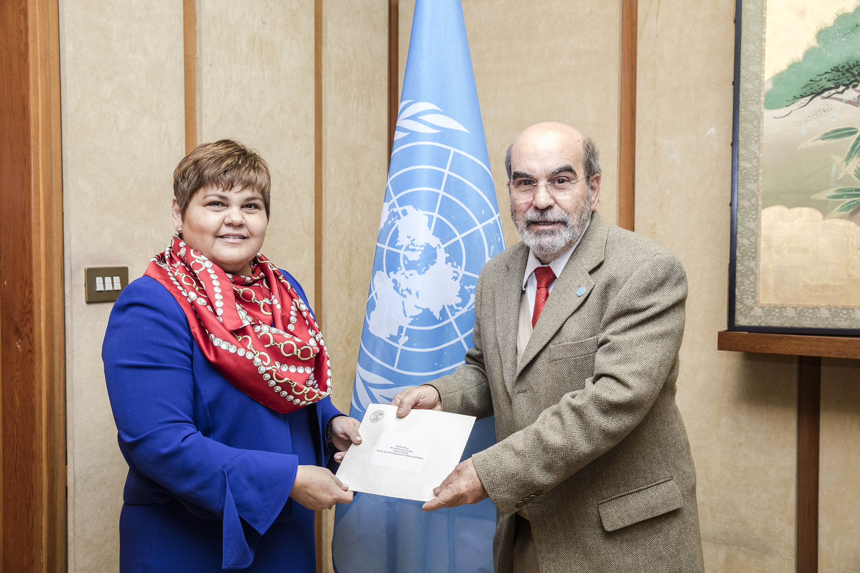 12 February 2018, Rome Italy - Perla Perdomo, Ambassador and Permanent Representative of Belize presenting her Credentials to FAO Director-General Jose' Graziano da Silva. FAO Headquarters.  Photo credit ©FAO/Giulio Napolitano. Editorial use only. Copyright ©FAO