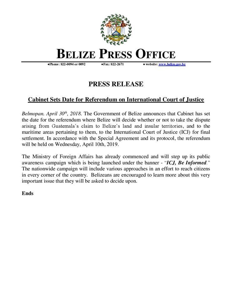 Cabinet Sets Date for Referendum on ICJ
