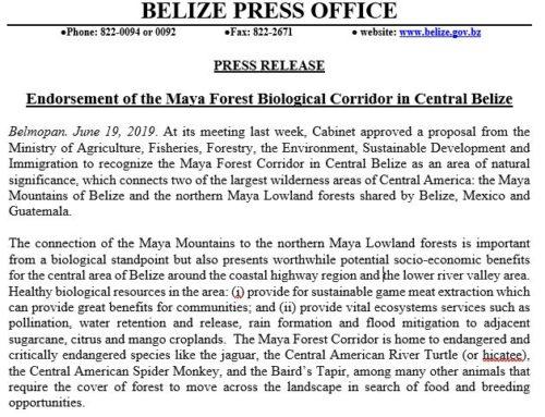 Endorsement Of The Maya Forest Biological Corridor In Central Belize