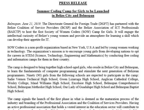 Summer Coding Camp For Girls To Be Launched  In Belize City And Belmopan