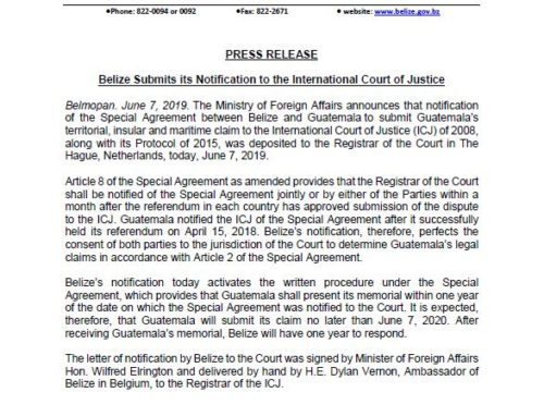 Belize Submits Its Notification To The International Court Of Justice