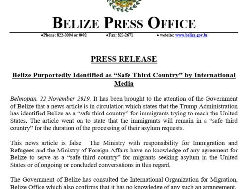"Belize Purportedly Identified As ""Safe Third Country"" By International Media"