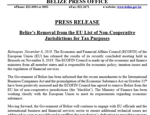Belize's Removal From The EU List Of Non-Cooperative Jurisdictions For Tax Purposes