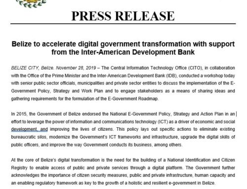 Belize To Accelerate Digital Government Transformation With Support From The Inter-American Development Bank