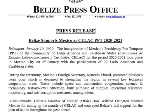 Belize Supports Mexico As CELAC PPT 2020-2021