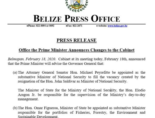 Office Of The Prime Minister Announces Changes To The Cabinet