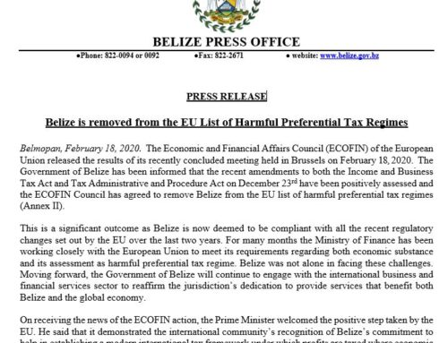 Belize Is Removed From The EU List Of Harmful Preferential Tax Regimes