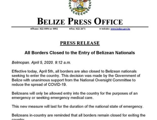 All Borders Closed To The Entry Of Belizean Nationals