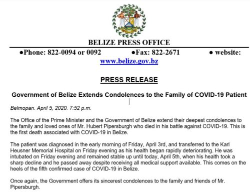 Government Of Belize Extends Condolences To The Family Of COVID-19 Patient