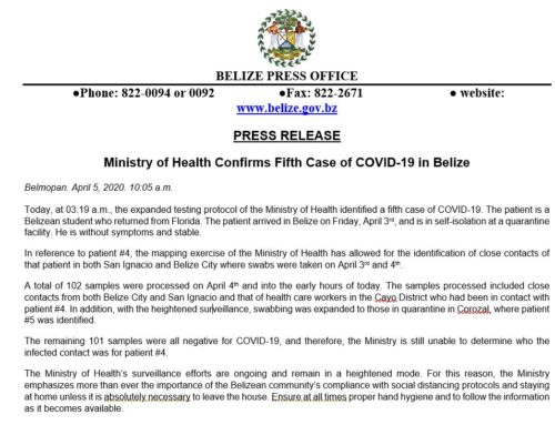 Ministry Of Health Confirms Fifth Case Of COVID-19 In Belize