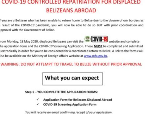 Notice COVID-19 Controlled Repatriation For Displaced Belizeans Abroad