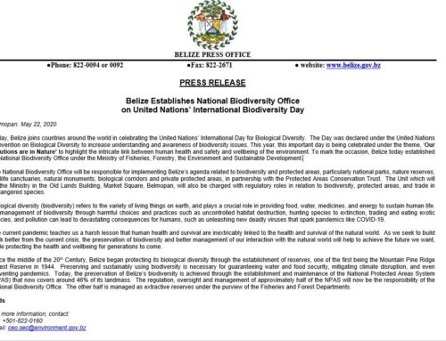 Belize Establishes National Biodiversity Office On United Nations' International Biodiversity Day
