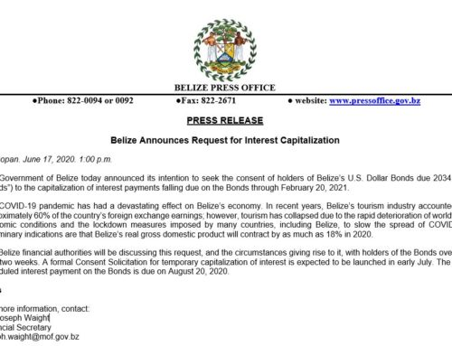 Belize Announces Request For Interest Capitalization