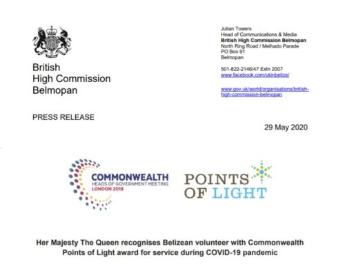 Her Majesty The Queen recognises Belizean volunteer with Commonwealth Points Of Light Award For Service During COVID-19 Pandemic