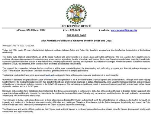 25th Anniversary Of Bilateral Relations Between Belize And Cuba