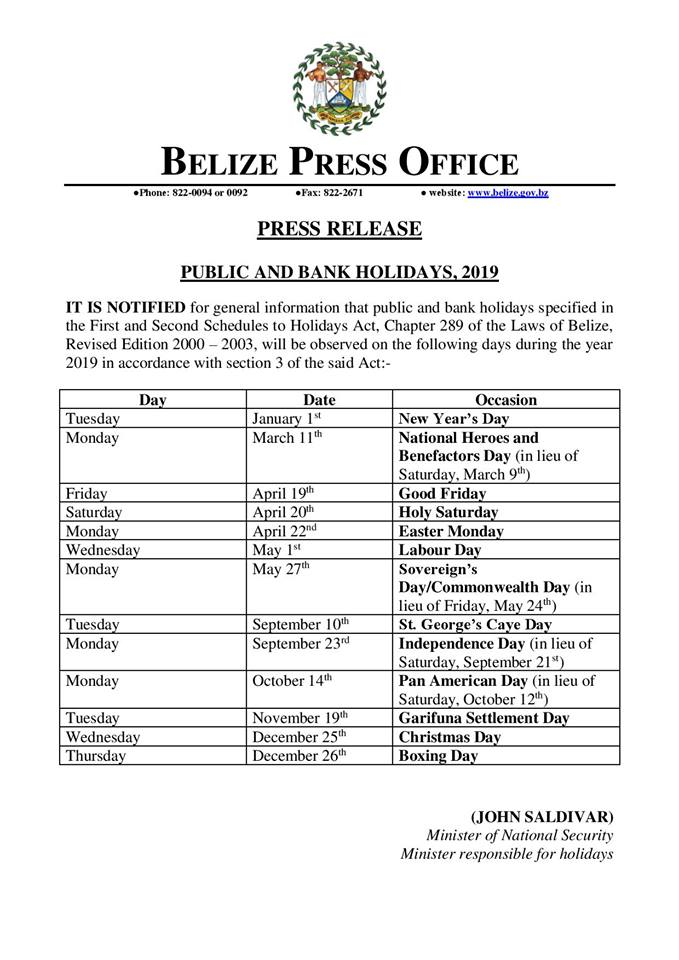 Public and Bank HOliday 2019 (1)
